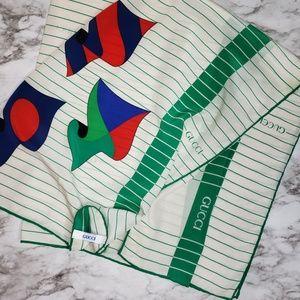 VTG Gucci 70's Silk Square Scarf White Green